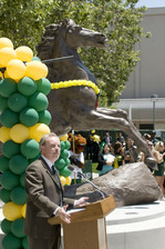 Vice President for Student Affairs Doug Freer speaks at Bronco statue unveiling on May 26, 2010.