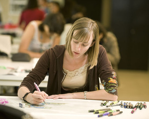 Third-year landscape architecture student Natalie Brethorst works on a design for a Yokkaichi (Japan) friendship garden in Long Beach on May 19, 2010.