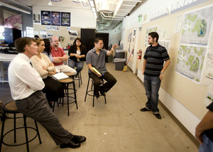 Adjunct professor Keji Uesugi listens to presentations during his Landscape Architecture 303 class on May 26, 2010.