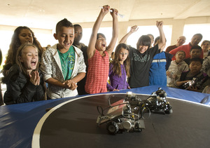 Montvue Elementary School students react as they win the Robot Rally on May 18, 2010.