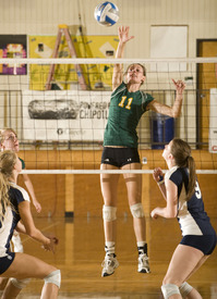 Courtney Alberi spikes during the Bronco's 3-1 loss to Sonoma State on September 25, 2009.