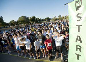 Runners and walkers gear up for the start of Matts Run in 2009.