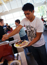 A student puts ketchup on his food at Denny's Diner at Cal Poly Pomona on Sept. 16, 2010.