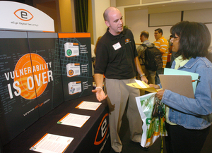 eEye Digital Security booth at the Wellness and Cyber Security Fair at Cal Poly Pomona's Bronco Student Center in 2006.