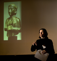 History professor Amanda Podany speaks during the Provost's Symposium on Faculty Scholarship in 2008.