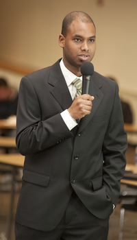 ASI President Ismael Souley answers a question during Pizza with the Presidents on Feb. 8, 2011.