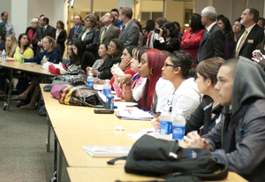 Students listen during Pizza with the Presidents in the Bronco Student Center's Ursa Major suite on Feb. 8, 2011.