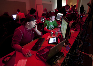 George Jouldjian and Kyle Umstead are members of the attacking Red Team during the Western Regional Collegiate Cyber Defense Competition at Cal Poly Pomona on March 25, 2011.