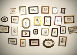 """""""En Francais,"""" a waterless litho with chine colle in found frames by Charissa Schulze, is part of Ink and Clay 37."""