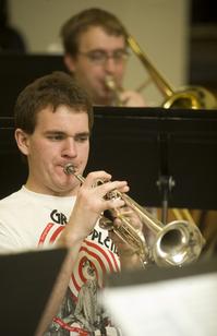 "The Cal Poly Pomona Jazz Band rehearses ""Rhapsody in Blue"" on February 11, 2009."