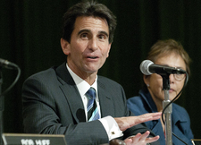 State Senator Mark Leno speaks during the Senate Budget Committee hearing in the Bronco Student Center on April 29, 2011.