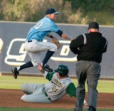 Jensen Torres gets forced out at second in the Broncos loss to Sonoma State on May 20, 2011.