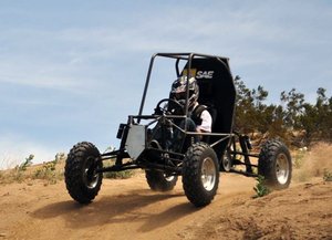 A member of the Baja SAE team test drives the vehicle in April 2011.