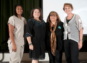 Lakisha Torrence, Loretta Villanueva, Rachel Dominguez and Becky Pepping were awarded the 2011-12 Amelia Hammond Staff Scholarship on November 8, 2011.