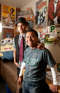 Enrique Montiel (right) with his brother, Romero, in Romero's room at Aliso Hall at Cal Poly Pomona.