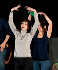 "Susan Egan demonstrates a dance step during rehearsal of ""Once Upon a Mattress"" on March 26, 2012."