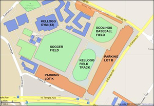 Map of southern part of campus, near Temple Avenue and South Campus Drive.