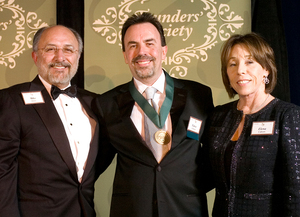 Lance and Elena Calvert with President Ortiz, left, during the Founder's Society Dinner April 21, 2007.