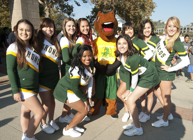 Thumbnail image for Billy Bronco with the Cal Poly Pomona Cheer Squad