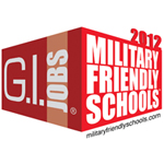 """A logo depicting the university's """"Military Friendly"""" designation by G.I. Jobs."""