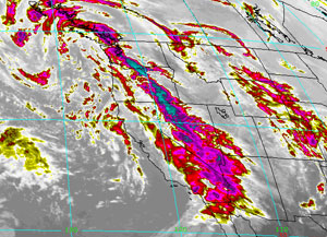 Infrared satellite imagery of the storm from the National Weather Service on Jan. 19, 2010.