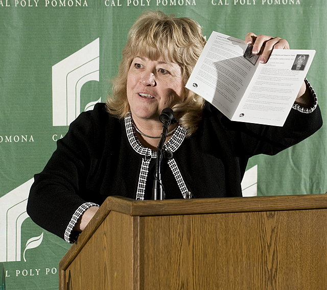 Mary Louise Labrucherie speaks during Distinguished Alumni dinner at Cal Poly Pomona.