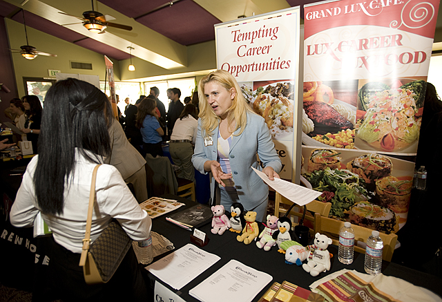 Klara Coleman of The Cheesecake Factory talks with students at the 17th annual 2010 Hospitality Career Expo at The Collins College of Hospitality Management at Cal Poly Pomona.