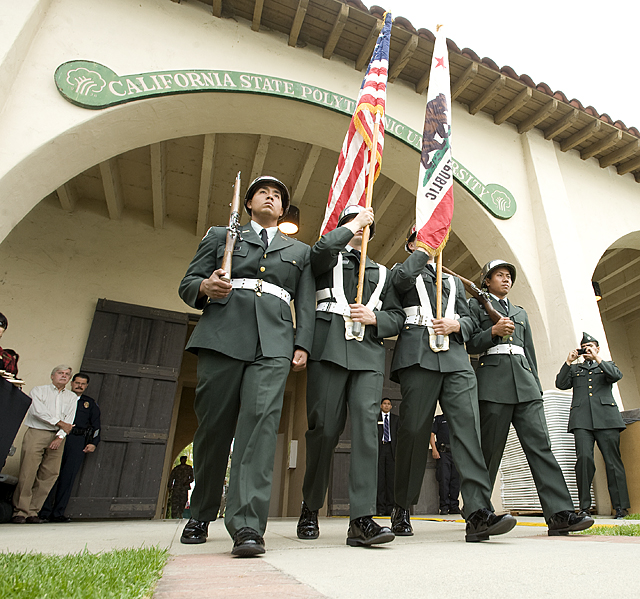 The Color Guard  enters during Memorial Day observance ceremony at Cal Poly Pomona.