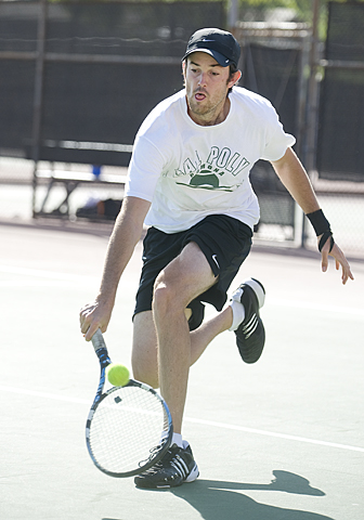 Robby Dabbs chases down a shot during his win at number one singles . The Broncos defeated Grand Canyon University 6-3