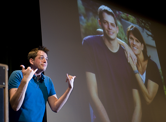 Luke Adams, the first deaf contestant on the reality show, The Amazing Race, speaks at Cal Poly Pomona.