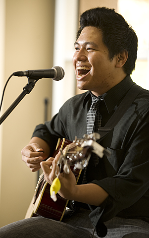 Chris Alanis performs in the Bronco Student Center at Cal Poly Pomona