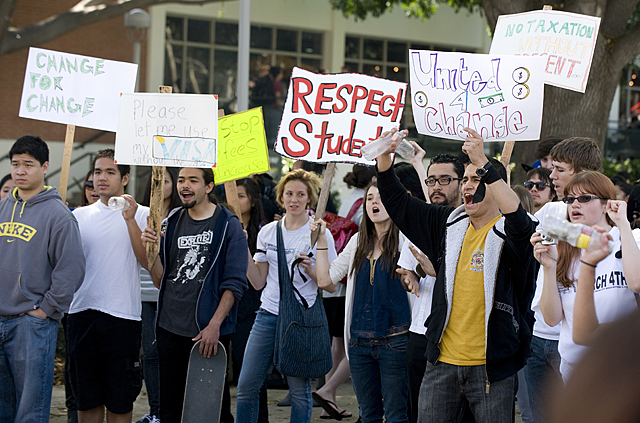 Students  yell during Change for Change protest in the University Quad at Cal Poly Pomona.