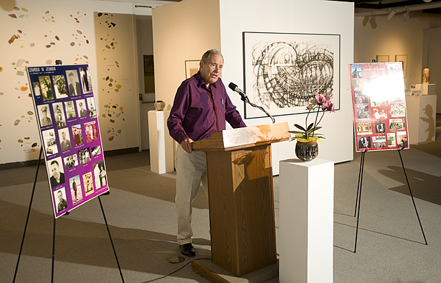 Bruce Jewett speaks during celebration of the life of alumnus Colonel James Jones at the W. Keith and Janet Kellogg University Art Gallery at Cal Poly Pomona.