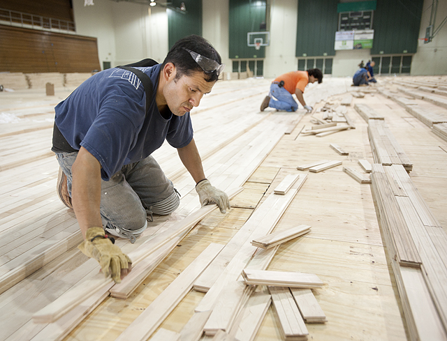 Abe Gutierrez fits pieces of maple flooring together as the installation of the new Kellogg Gymnasium floor continues.