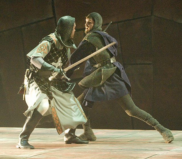 Macbeth (Robert Shields) and MacDuff (Job Barnett) in the Cal Poly Pomona Department of Theatre Arts production of William Shakespeare's Macbeth at the University Theater.