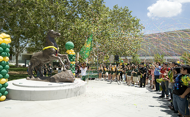 Streamers and confetti fly as the Bronco statue is unveiled during ribbon cutting ceremony for the Residential Suites Phase II at Cal Poly Pomona.