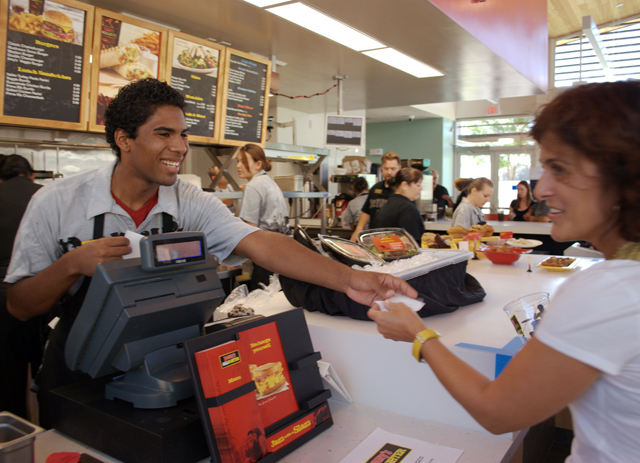 Students workers execute a test run of Denny's Diner at Bronco Commons, which officially opens Monday, Sept. 20, 2010.
