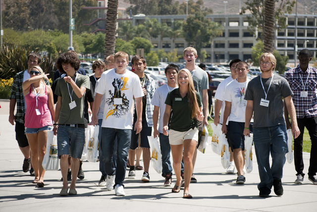 Incoming students tour the campus during orientation on July 13, 2010.
