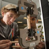 Students using engineering equipment during a lab