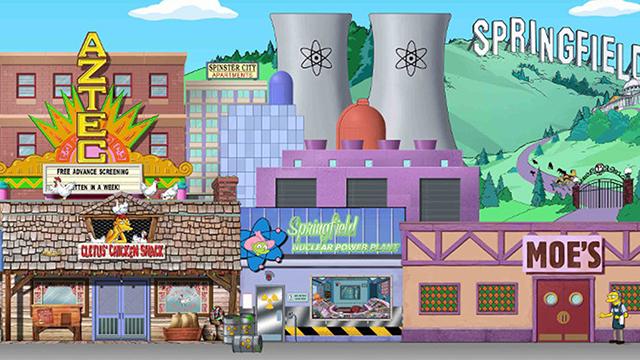 screenshot of the Simpsons landscape