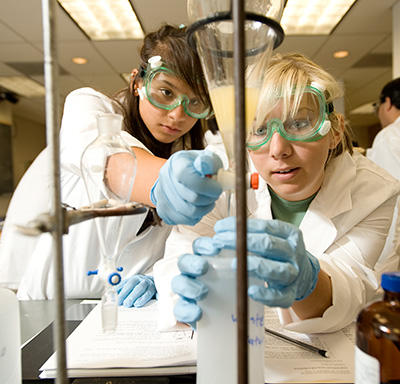 Carina Sanchez from Diamond Ranch High and Meaghan Mielo from Norco High make biodiesel during STEM Learning Community Workshop at Cal Poly Pomona August 4, 2009.