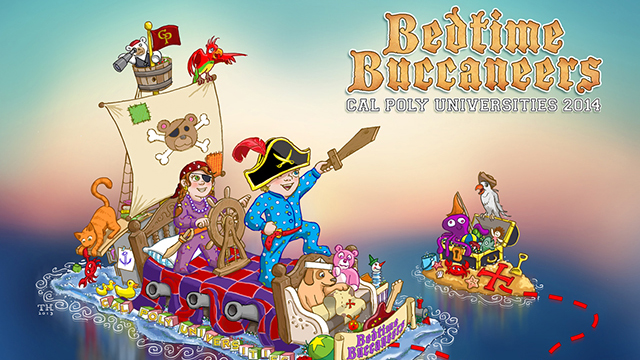 "An artist's rendering of the 2014 Cal Poly Universities Rose Float, ""Bedtime Buccaneers."""