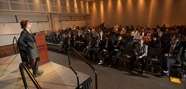 Virginia Grebbien, president of Parsons and a civil engineering alumna, speaks at Cal Poly Pomona on Nov. 7, 2013.