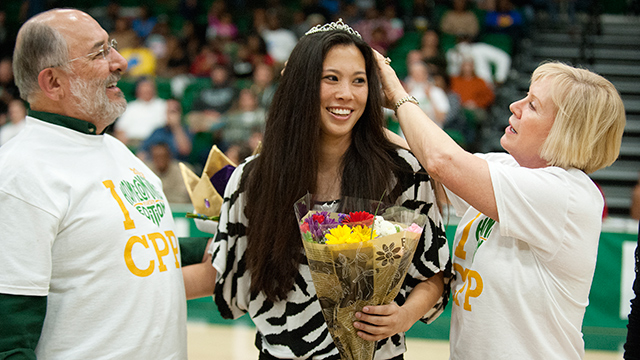 Jennifer Bryant is named Homecoming Queen during halftime of the men's game against Cal State Monterey Bay at Kellogg Gym February 16, 2013.