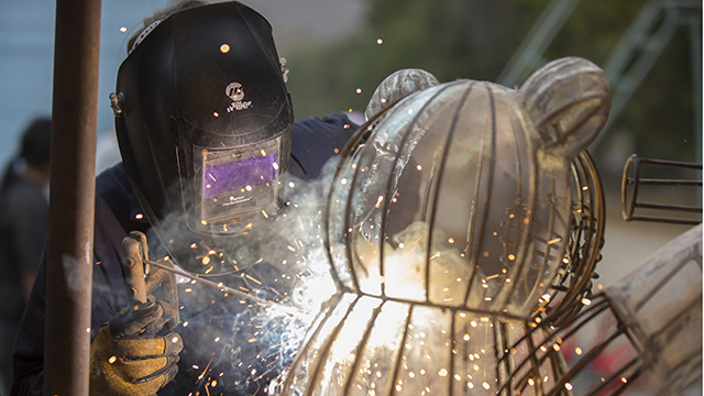 Welding work on the 2014 Rose Float