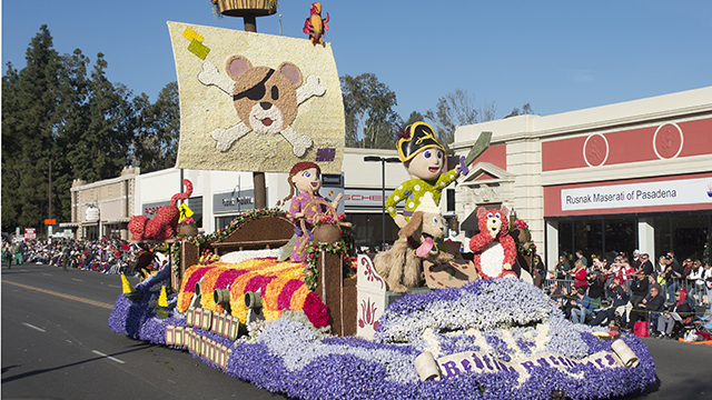The Cal Poly Universities Rose Parade float, Bedtime Buccaneers, makes its way down the parade route January 1, 2014.