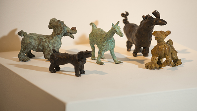 Artist Ann Bingham-Freeman's bronzes on display at the W. Keith and Janet Kellogg University Art Gallery.