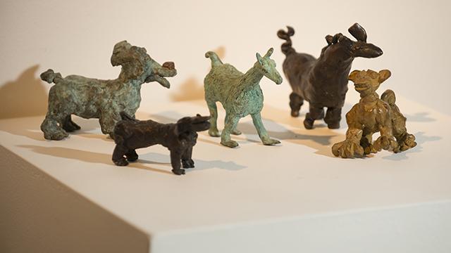 Artist Ann Bingham-Freeman's bronzes on display at the W. Keith and Janet Kellogg University Art Gallery.