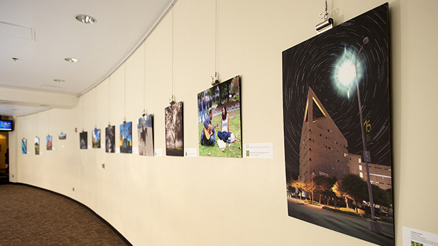 The winning entries from the 75th Anniversary Photo Contest on display in the Bronco Student Center at Cal Poly Pomona.