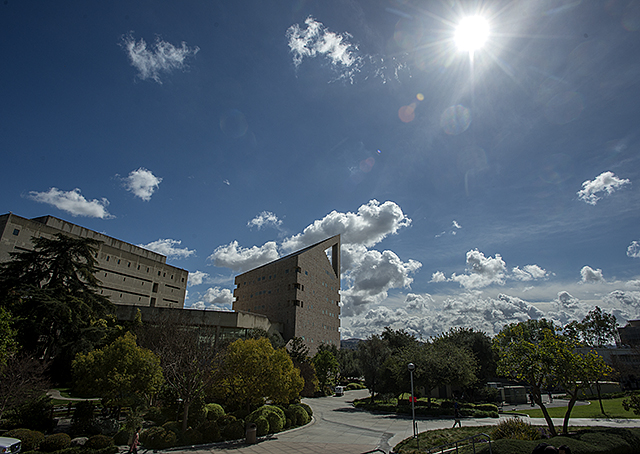 Clouds break up over the CLA building at Cal Poly Pomona during a respite between two storms.